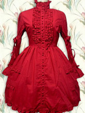 Cotton Red Lace Ruffle Gothic Lolita Dress