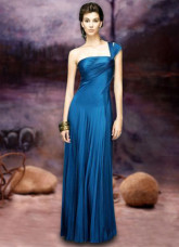 Royal Blue One-Shoulder Satin Maxi Prom Gown