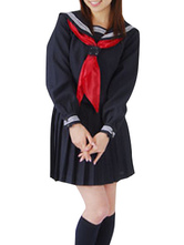 Deep Blue Long Sleeves Cosplay School Uniform