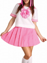 Pink Short Sleeves School Uniform Cosplay Costume