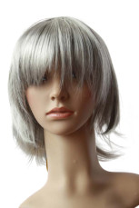 Women's Silver Grey Short Straight Cosplay Wig