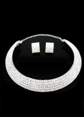 5 Row Rhinestone Wedding Bridal Jewelry Set