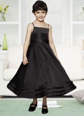 Black Satin Spaghetti Flower Girl Dress