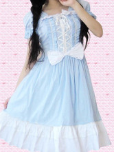 Cotton Blue Front Lace Tie Cosplay Lolita Dress