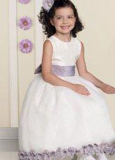 Back Bowknot Embellished Flower Girl Dress.