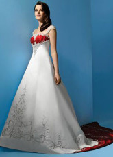 A-line Empire Waist Beading Embroidery Satin Wedding Dress