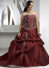 Deep Burgundy Strapless Embroidery Beading Plus Size Taffeta Ball Gown
