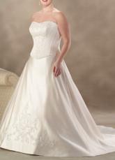 Толстое вышивка-атласное свадебное платье в большом размере фото.