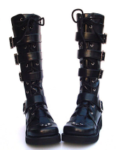 1.2'' High Heel Black Strappy PU Lolita Boots