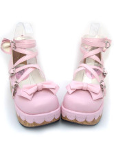 ピンク クロス ロリータ靴