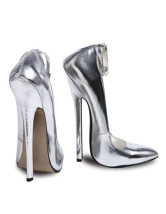 7 1/10'' High Heel Ankle Straps Silver Patent Sexy Pumps