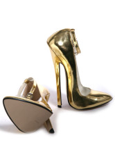 7 1/10'' High Heel Patent Gold Sexy Special Occasion Pumps