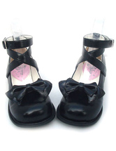 Lolitashow Black Bow PU Lolita Shoes