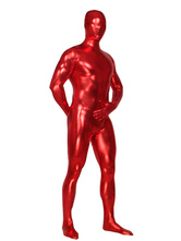 Unicolor Red Unisex Shiny Metallic Zentai Suit