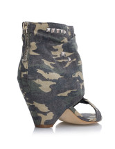 Low Heel Wild Green Camouflage Canvas Sandal Boots