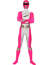 Pink And Silver Lycra Spandex Super Hero Costume