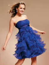 Elegant Empire Waist Strapless Multi-Ruffles Satin Organza Prom Dress