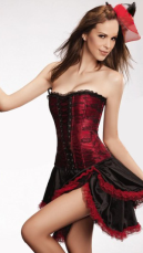 Red Lace Satin Sexy Corset