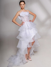 Attractive Strapless Ruched Bottom Satin Mini Wedding Dress