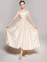 Short Sleeves Beaded Pin Tea Length Elastic Woven Satin Mother Of Bride And Groom Dress
