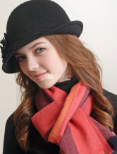 Black 100% Wool Trilby Hat For Women