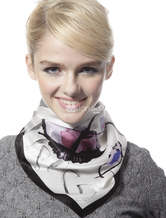 Fashionable Black And White 100% Silk Neckerchief