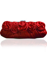 Beautiful Red Snap Closure Flower Pleated Satin Party Clutch