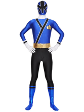 Blue Black Unisex Lycra Zentai Suit