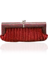 Formal Amaranth Stripe Snap Closure Satin Cocktail Clutch