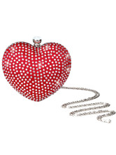 Attractive Red Rhinestone Snap Closure Hard Prom Clutch