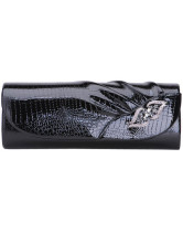 Black Pleated PU Leather Party Clutch
