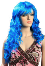Blue Women's 70cm Curly Long Fashion Wig With Fringe Style