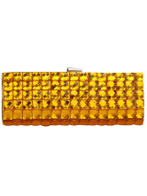 Casual Gold Rhinestone Snap Closure Acrylic Stone PU Prom Clutch