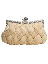 Fabulous Apricot Rhinestone Snap Closure Creased Bamboo Pattern Satin Prom Clutch