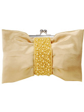 Fashion Yellow Beaded Snap Closure Satin Prom Clutch