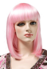 Pink Women's 50cm Short And Straight Fashion Wig With Fringe