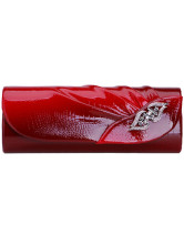 Red Pleated PU Leather Party Clutch
