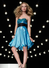 Strapless Sequins Sash Taffeta Knee Length Cocktail Prom Dress