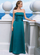 Strapless Satin Floor Length Bridesmaid Dress