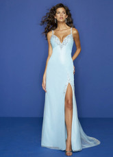Beaded V-Neck Chiffon Satin Evening Gown