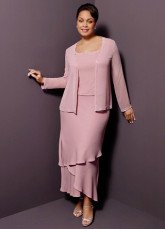 Two-Piece Modest Long Sleeves Multi-layer Satin Chiffon Mother Of Groom And Bride Dress