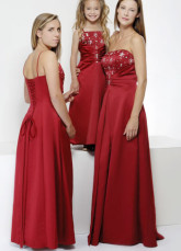 Red Spaghetti Straps Embroidery Beaded Satin Evening Dress