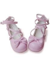 ピンク ロリータ靴 クロス アンクルストラップ PU リボン