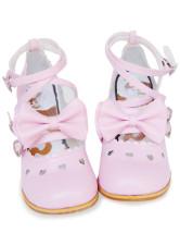 ピンク ロリータ靴  クロス アンクルストラップ リボン PU