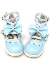 ブルーとホワイト ロリータ靴  クロス アンクルストラップ リボン PU