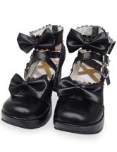ブラック ロリータ靴  クロス リボン PU