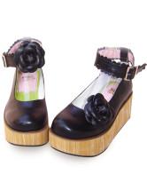ブラック ロリータ靴 アンクルストラップ 花飾り PU