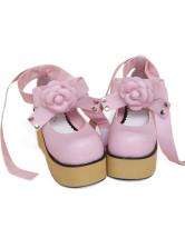 ピンク ロリータ靴 アンクルストラップ 花飾り PU