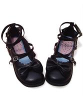 ブラック ロリータ靴 クロス アンクルストラップ PU リボン