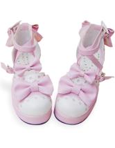 ピンクとホワイト ロリータ靴 アンクルストラップ PU リボン